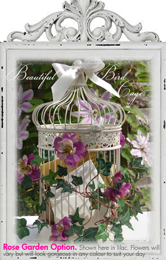 Wedding bird cage decorated with lilac roses & trailing ivy