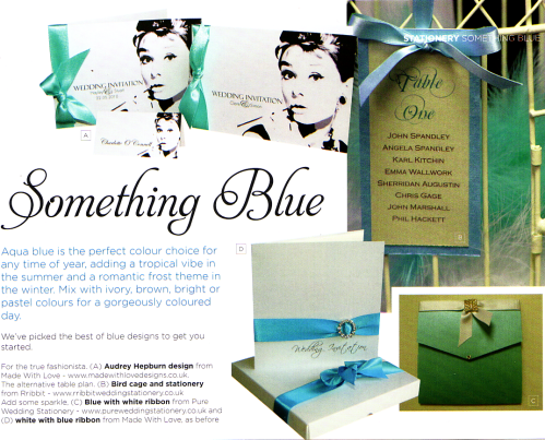 Something Blue - Turquoise & aqua invitations in Belle Bridal
