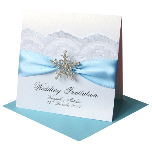 Winter Wedding Invitations Snowflake Crystal Made With Love