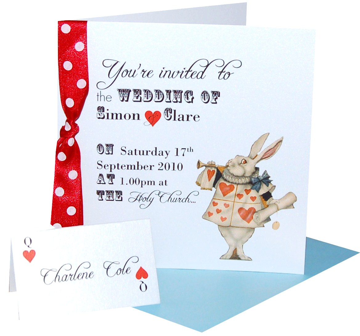 Gorgeous Alice Rabbit Wedding Invitations