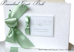 Pistachio Ribbon Guest Book with Swarovski Crystal