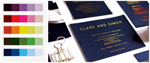 banner-different-colour-card-foil-print-wedding-invites