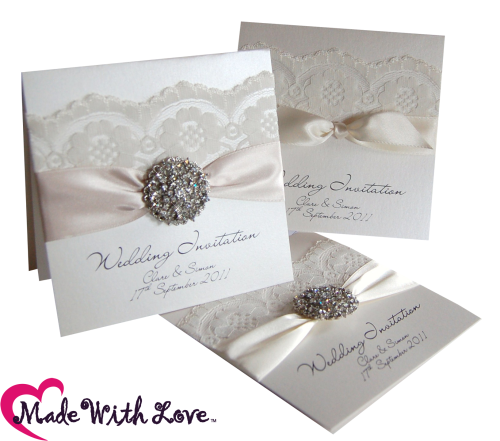 Luxury ivory lace vintage style wedding invitations from www.madewithlovedesigns.co.uk