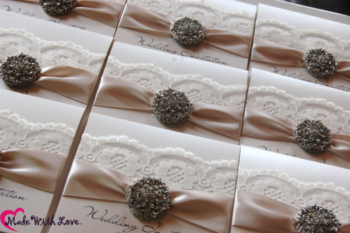 ivory wedding stationery in classic wedding colours