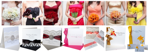 Hot Trends: Ivory Invitations, black invitations, burgundy invitations, Hot Pink invitations, coral invitations, Gold invitations & yellow invites