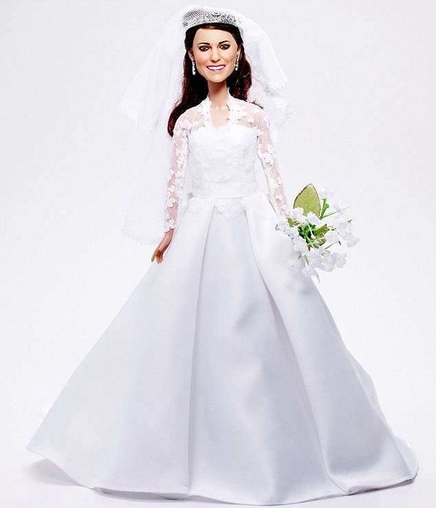 Princess kate wedding doll in detailed sarah burton wedding dress