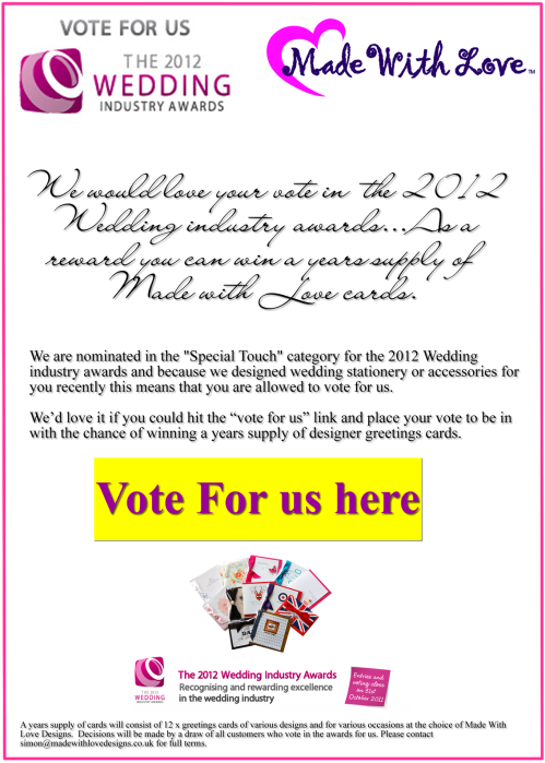 Click to cast your vote for Made With Love in the Finishing Touches Category