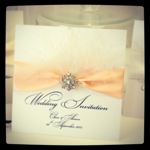Stunning feather wedding invitations