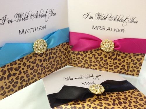 Leopard print valentines day cards with huge gold crystal dobber
