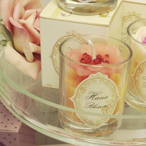 Candle blush pink peony