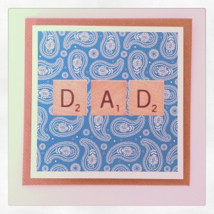 A cool card featuring Paisley print and vintage scrabble piece font.