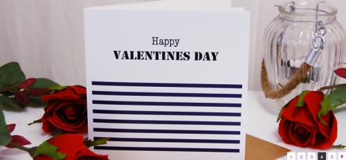 Stylish Breton stripes Valentines Card. A little designer