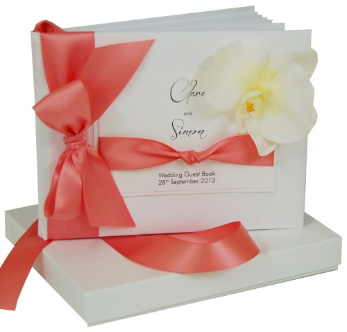 Orchid Wedding Guest Book with coral ribbon from Made With Love Designs UK