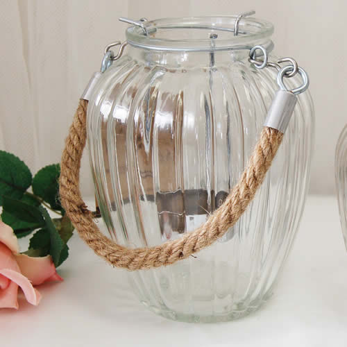 Glass Jar Hanging Lantern for weddings Large