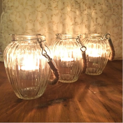 Rope glass jar candle holder hanging