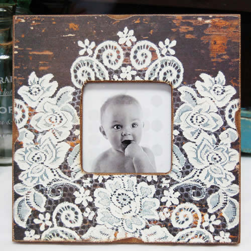 Rustic Wood & Lace Square Photo Frame