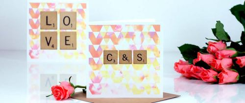 A personalised scrabble letter initials valentines card with couples initials