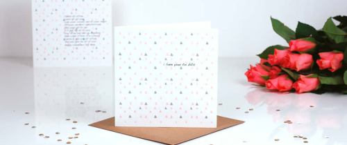 Valentines cards with peach & grey geometric triangles I love you to bits card