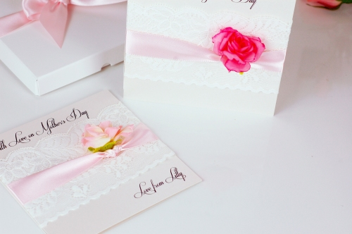 Mothers Day Lace Rose card close up Mothers day card £9.95 www.madewithlovedesigns.co.uk