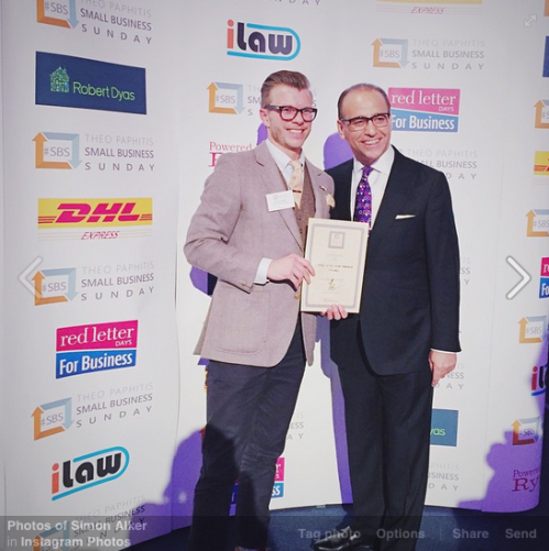 Marketing Director Simon Alker picks up the SBS Award from Theo Paphitis Feb 2015