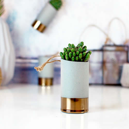 Modern gold & concrete vase planter