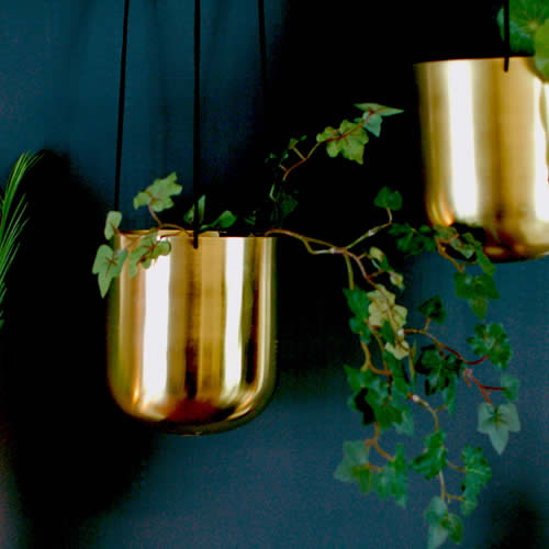 Brass gold hanging planter