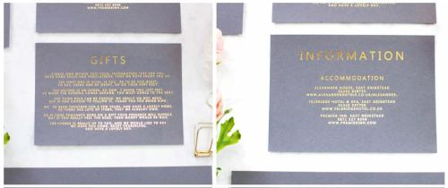 Info cards and gift cards gold foil grey card