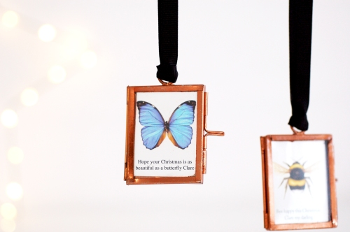 Christmas decoration mini picture frame morpho butterfly £14.95 www.madewithlovedesigns.co.uk with bee