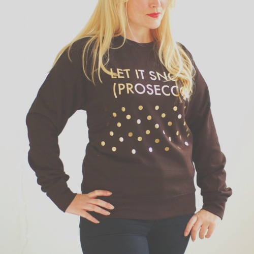 Black and gold prosecco christmas jumper