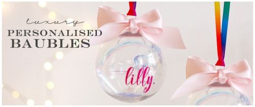 Personalised baubles with childs name, unicorn, rainbow ribbon for a magical christmas keepsake