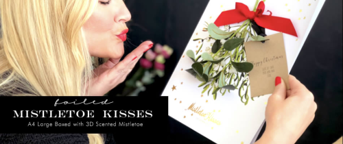 Luxury scented Christmas Cards gift boxed and smelling like mistletoe....give us a kiss